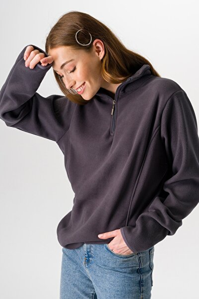 Runever Kadın Antrasit Fermuarlı Sweatshirt 25974