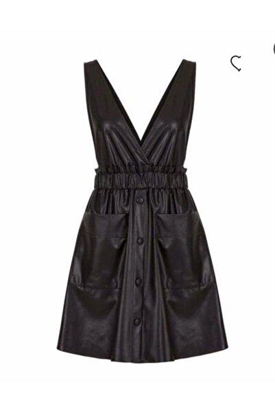 Nocturne Kadın Siyah Deri Elbise
