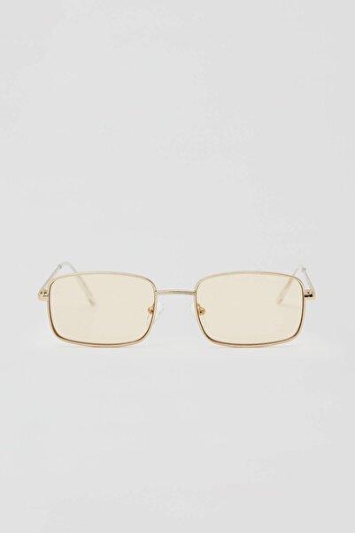 Pull & Bear Erkek Renkli Altın Rengi Dikdörtgen Güneş Gözlüğü 04999504