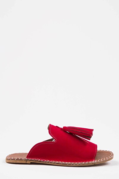 Oioi Kadın Kırmızı Süet Terlik 1005-122-0001_1112