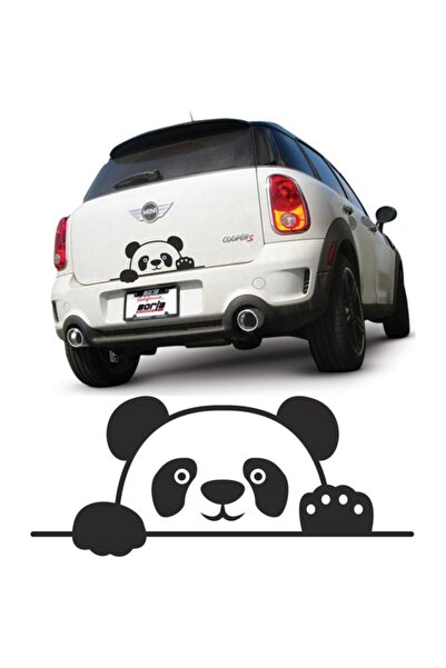 Quart Aksesuar Panda Bagajdan Bakan Panda Oto Cam Sticker Siyah 20 X 8 Cm