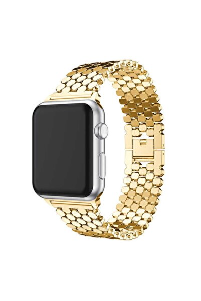 zore Apple Watch 1 2 3 4 5 6 Serisi 44mm Metal Kordon Bal Peteği Tasarım Krd-30