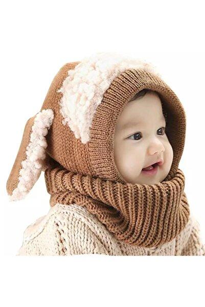 eliz kids Bebek Kahverengi Peluş Detaylı Yün Bere