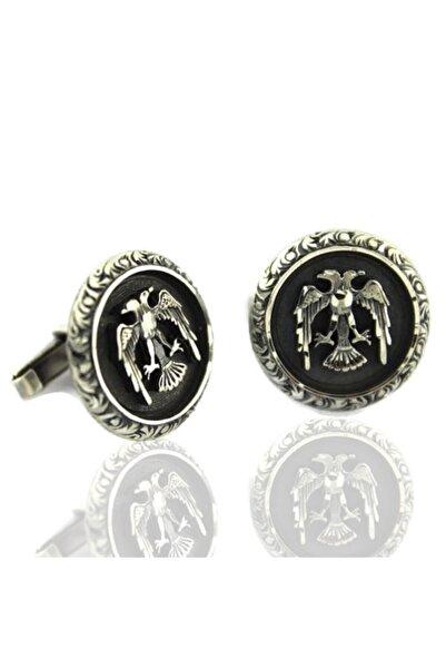 AbbasShop Çift Başlı Kartal Desenli El Işi Gümüş Kol Düğmesi