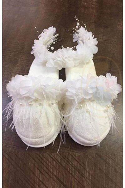 Little Baby Beyaz Incili Beyaz Çiçek Süslemeli Lohusa Terlik Taç Takımı