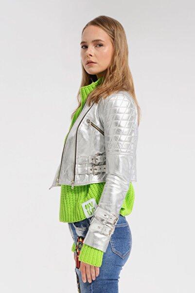 VDR Gümüş Deri Ceket