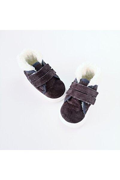 Funny Baby Erkek Çocuk Kahverengi Cırtcırtlı İçi Kürklü Ayakkabı