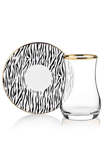Pinkev Zebra 6 Kişilik Seramik Tabaklı Çay Bardağı Seti