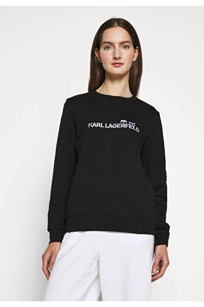 Karl Lagerfeld Kadın Siyah İkonik Logo Baskılı Sweatshirt