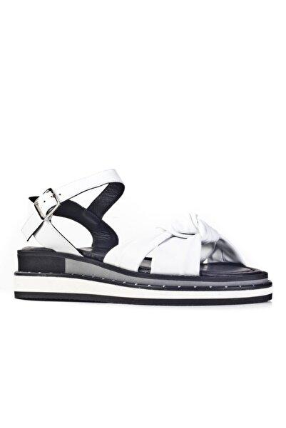 Cabani Klasik Kadın Sandalet Beyaz Deri