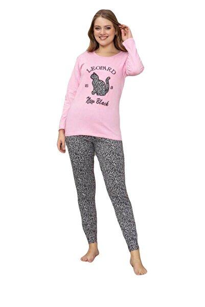 Sude Kadın Leopar Desenli Modal Uzun Kollu Pijama Takımı