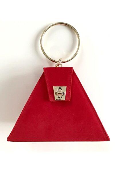 Abiye Butik Çanta Triangle New Kırmızı Süet Abiye Çanta