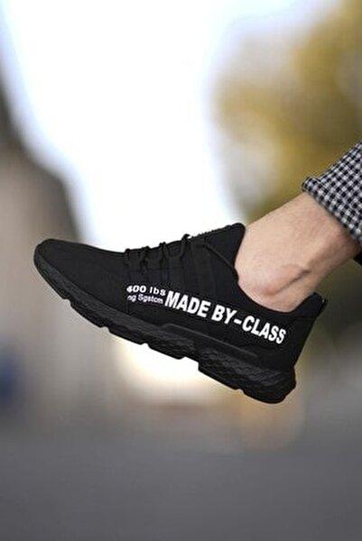 Siyah Beyaz Erkek Cilt Sneaker 0012SANTO