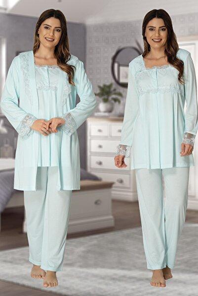 Effortt Kadın Turkuaz Sabahlıklı Lohusa Pijama Takımı 2401