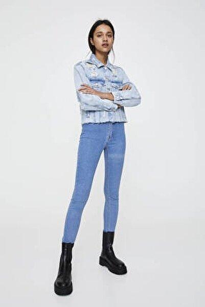 Kadın Soluk Mavi Yüksek Bel Skinny Jean 09684309