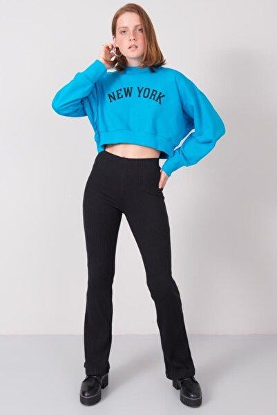 BSL Fashion Kadın Siyah Yüksek Bel Lastik Detaylı Pantolon