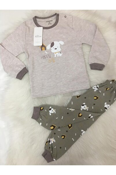 Aziz Bebe Erkek Bebek Happy Dog  Bej Renk Pamuklu Pijama Takımı