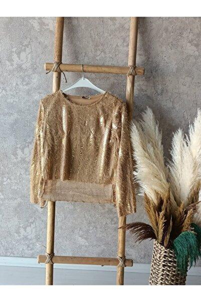 Moda Kuşu Kadın Gold Renkli Pul Detaylı Bluz
