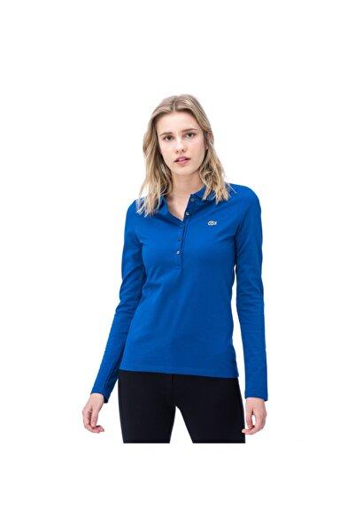 Lacoste Kadın Mavi Uzun Kollu Polo Yaka T-Shirt