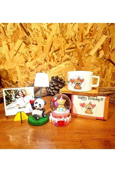 by rk tasarım Happy Birthday Kar Küresi Ve Panda Masa Lambası Kupa 3'lü Doğum Günü Hediye Seti
