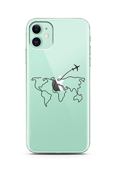Spoyi Çizgi Harita Tasarımlı Süper Şeffaf Silikon Telefon Kılıfı Iphone 11