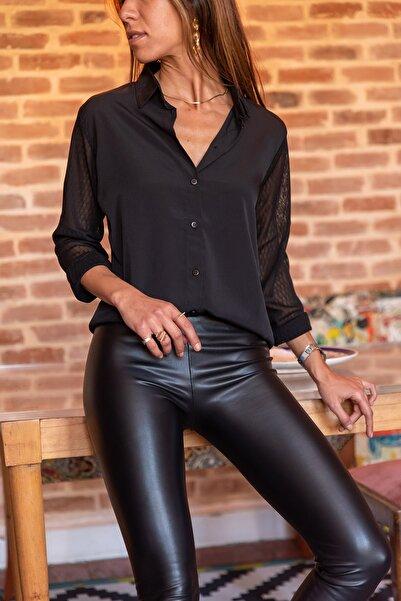 Güneşkızı Kadın Siyah Kolları Tül Gömlek GK-BST30kH5015