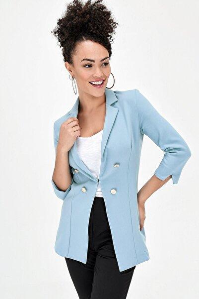 Jument Kadın Mint Capri Kol Çift Düğmeli Ceket  39002