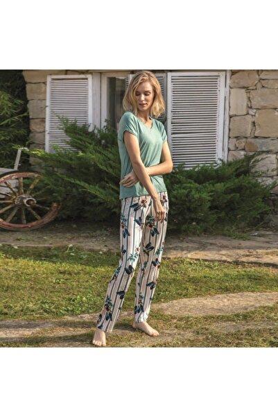 Anıl Kadın Zeytin Yeşili Kısa Kol T-shirt, Pantolon Takım Man9638