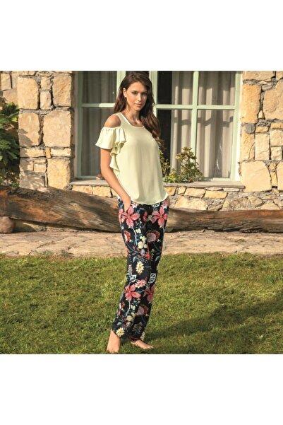 Anıl Kadın Sarı Kısa Kol T-shirt, Pantolon Takım Man9642