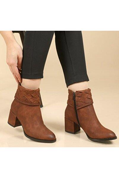 SEÇİL Kadın Kahverengi Dilimli Topuklu Ayakkabı