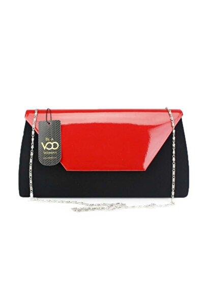 VOO Kadın Kırmızı Siyah Süet El Çantası