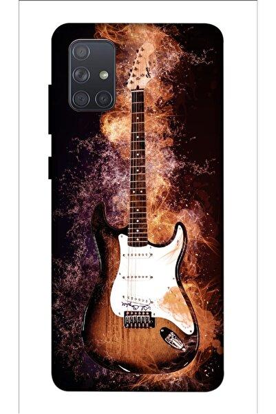 Zipax Gitar Ateş Desenli Baskılı Samsung Galaxy A71 Kılıf