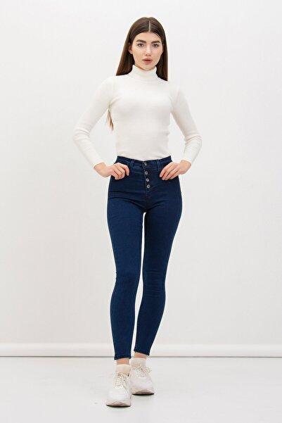 Mossta Kadın Mavi Dört Düğmeli Likralı Pantolon