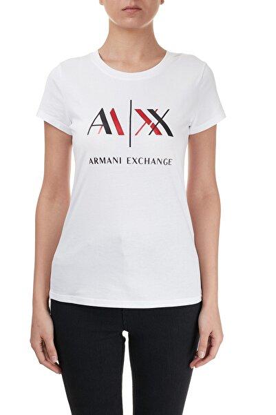 Armani Exchange Kadın Beyaz Baskılı Bisiklet Yaka T Shirt 6hytah Yj73z 8175