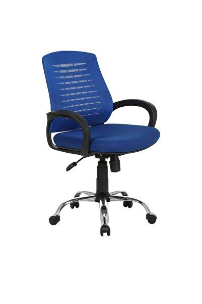 Fabrika Çalışma Sandalyesi Mavi Ofis Krom