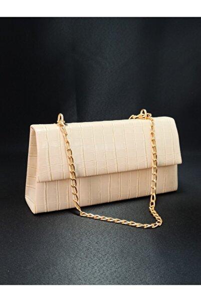 dizaynbag Kadın Krem Rengi Zincir Askılı Omuz Çantası