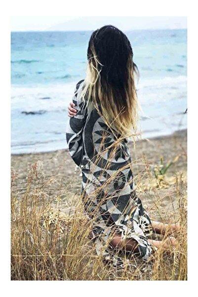 Sunday Funday Kadın Siyah Jakarlı Kimono