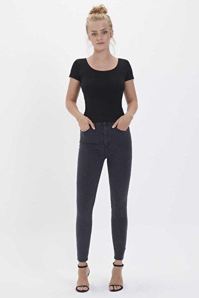 Loft Kadın Gri Skinny Fit- Yüksek Bel-Bilek Boy Pantolon