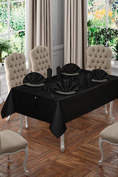 BİRHOME 12 Kişilik Lüx Colber Siyah Masa Örtüsü Seti