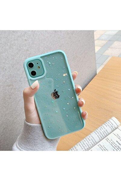 LIME CASES Apple Iphone 12 12 Pro 6.1 Kenarı Su Yeşili Simli Yıldızlı Şık Şeffaf Telefon Kılıfı