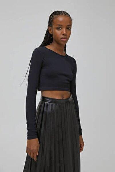 Kadın Siyah Uzun Kollu Fitilli T-Shirt 04240337