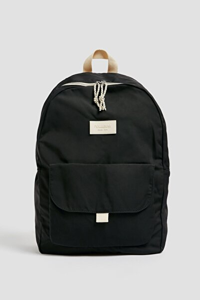 Pull & Bear Kadın Siyah Logolu Kumaş Sırt Çantası 14094640