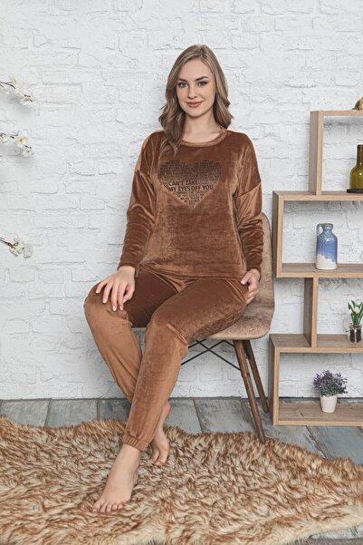 Mossta Kadın Kahverengi Kalp Detaylı Fransız Kadife Pijama Takımı