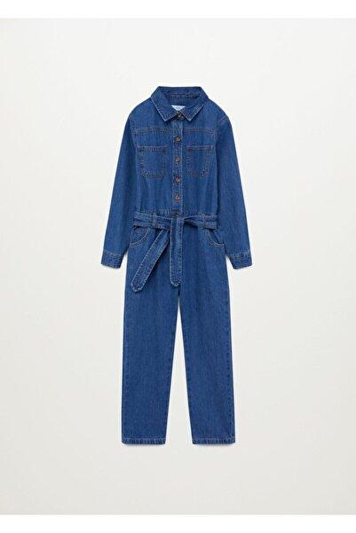 MANGO Kids Kız Çocuk Donuk Mavi Uzun Kot Tulum