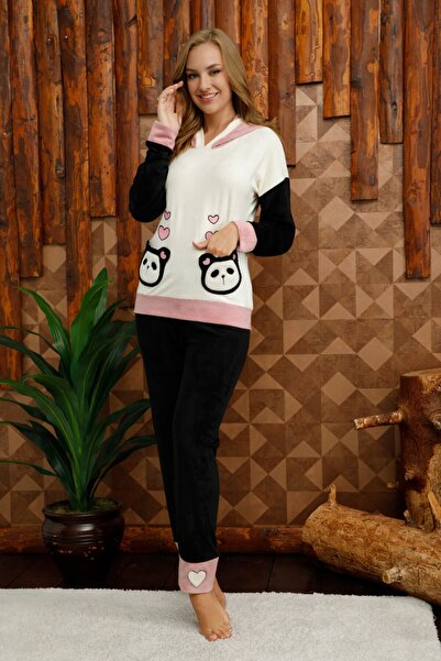 Mossta Kadın Siyah Cepli Kapüşonlu Kadife Pijama Takımı