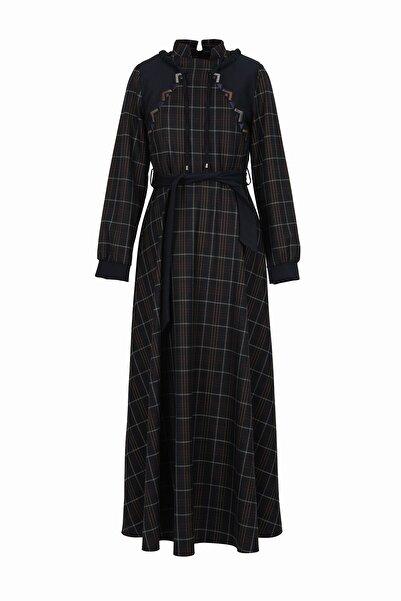 soydan exclusive Kadın Lacivert Uzun Kollu İşlemeli Ekose Elbise