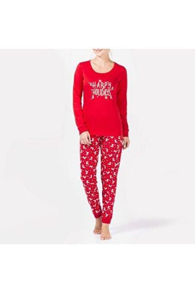 Katia&Bony Kadın  Kırmızı Happy Holidays  Pijama Takımı