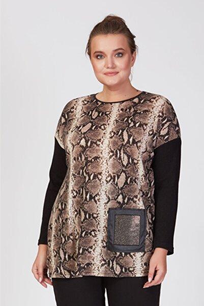Femina Kadın Siyah Büyük Beden Deri Cepli Cepleri Taşlı Leopar Desenli Tunik Bluz