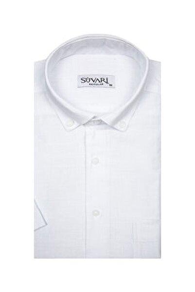 Kısa Kollu Beyaz Erkek Gömlek Bol Kesim Tam Pamuk