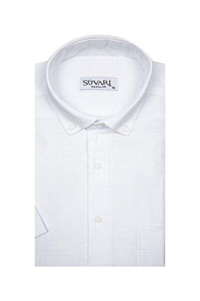SÜVARİ Kısa Kollu Beyaz Erkek Gömlek Bol Kesim Tam Pamuk